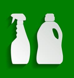 Household chemical bottles sign paper vector