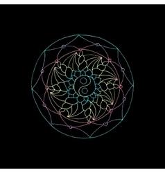 Indian geometric mandala black background vector