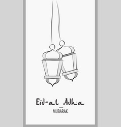 Lanterns for holiday black and white eid al adha vector