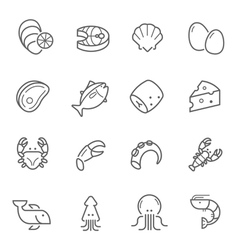 Lines icon set - raw food material vector