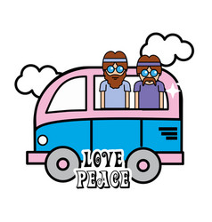 Nice minibus with cloud and hippies inside vector