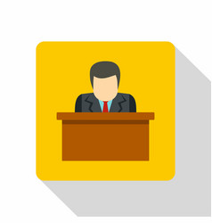 Orator speaking from tribune icon flat style vector