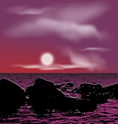 Outdoor background sea stones during night vector