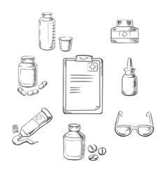 Prescription and medical sketch icons vector image
