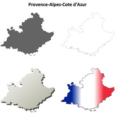 Provence-alpes-cote dazur outline map set vector