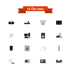 Set of 16 editable tech flat icons includes vector