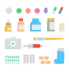 Set of different pills and drugs first-aid kit vector