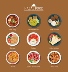 Set of halal food flat design vector