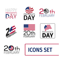 set of icons for the presidents day of united vector image