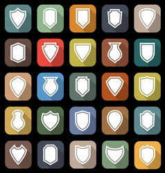 Shield flat icons with long shadow vector
