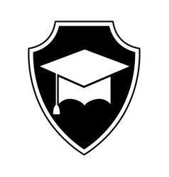 Shield insurance with graduation hat isolated icon vector