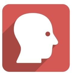 Silent head flat rounded square icon with long vector