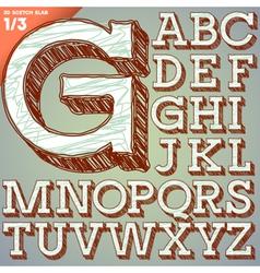 Sketch hand drawing alphabet vector
