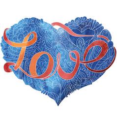 sketchy doodle blue heart vector image vector image