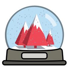 Snow globe with three christmas trees vector