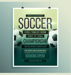 Soccer tournament championship game flyer vector