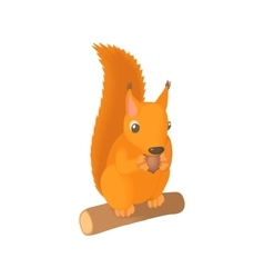 Squirrel gnaws a nut icon cartoon style vector image
