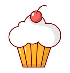 Sweet cupcake icon cartoon style vector