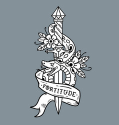 Tattoo dagger snake ribbon lettering fortitude vector