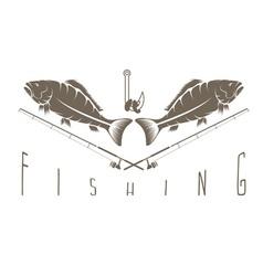 Vintage fishing label vector