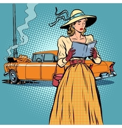 Woman crash car retro funny vector