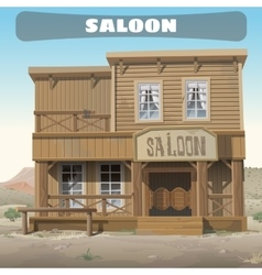 Wooden classic saloon in wild west story series vector