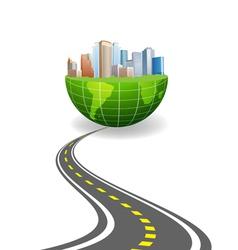 world city road vector image vector image