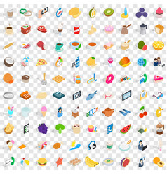 100 bakeshop icons set isometric 3d style vector image vector image