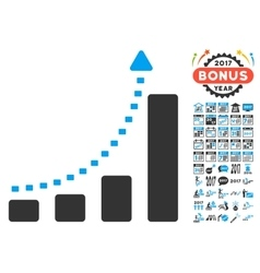 Bar chart positive trend icon with 2017 year bonus vector