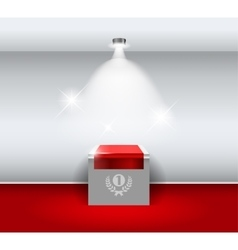 Empty white stand for your exhibit with red carpet vector