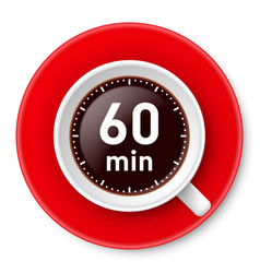 Cup of coffee with time limit for break one hour vector