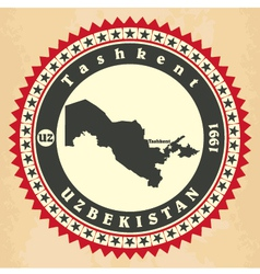 Vintage label-sticker cards of uzbekistan vector