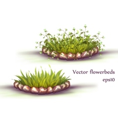 Flowerbed with grass and flowers vector