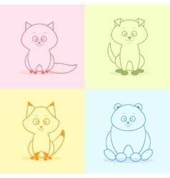 animals flat set vector image
