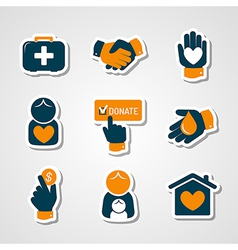 Charity and donation paper cut icons vector