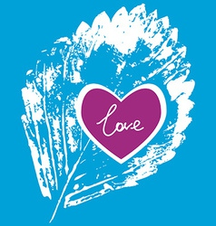 Prints white leaf on a blue background love vector