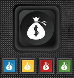 Money bag icon sign symbol squared colourful vector