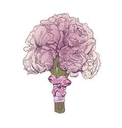 Peony wedding bouquet isolated vector