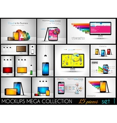 Collection of phone pc and tablet mockups with vector image