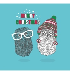 Two hipster owls vector