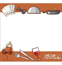 Menu design with culinary objects vector