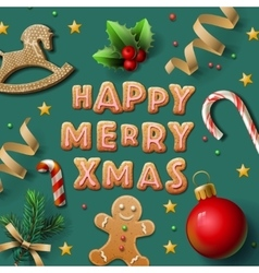 Merry christmas greeting card with cookies vector