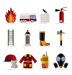 Fire-brigade and fireman equipment icon vector