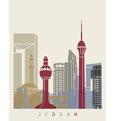 Jeddah skyline poster vector