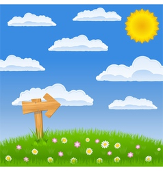 Green field with wooden arrow sign vector