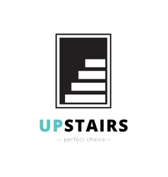 Negative space stairs logo brand sign vector