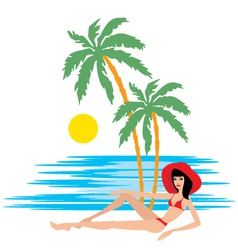 Tropical beach with palm trees and woman vector