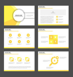 Yellow polygon presentation templates infographic vector