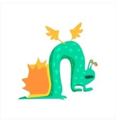 Green snail childish monster vector