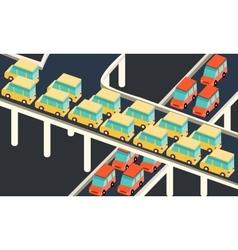 Traffic jam car waiting stuck in line road city vector